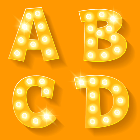 Vector yellow lamp alphabet for theatre, cinema and other entertainment. Letters A B C D