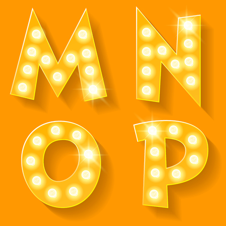 n: Vector yellow lamp alphabet for theatre, cinema and other entertainment. Letters M N O P
