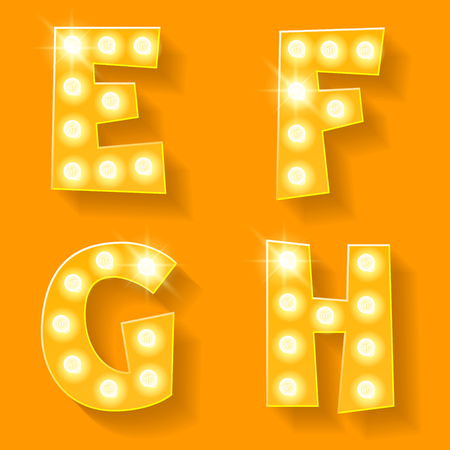 h: Vector yellow lamp alphabet for theatre, cinema and other entertainment. Letters E F G H