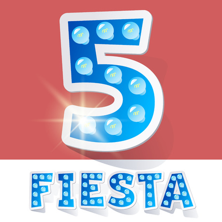 Funny lamp cartoon alphabet for party, holiday and celebration. Sticker style. Number 5