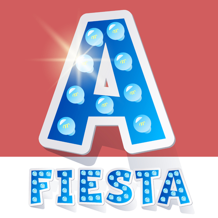luminary: Funny lamp cartoon alphabet for party, holiday and celebration. Sticker style. Letter A