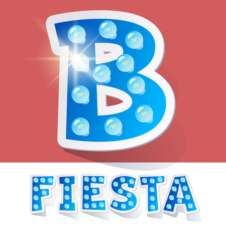 luminary: Funny lamp cartoon alphabet for party, holiday and celebration. Sticker style. Letter B