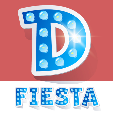 luminary: Funny lamp cartoon alphabet for party, holiday and celebration. Sticker style. Letter D
