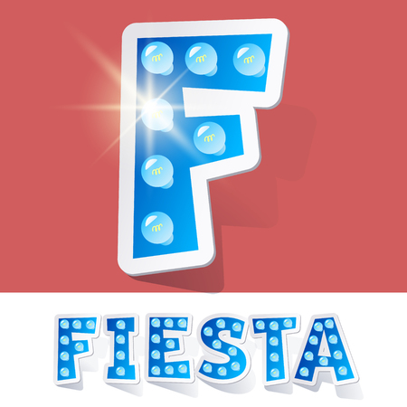 Funny lamp cartoon alphabet for party, holiday and celebration. Sticker style. Letter F Illustration