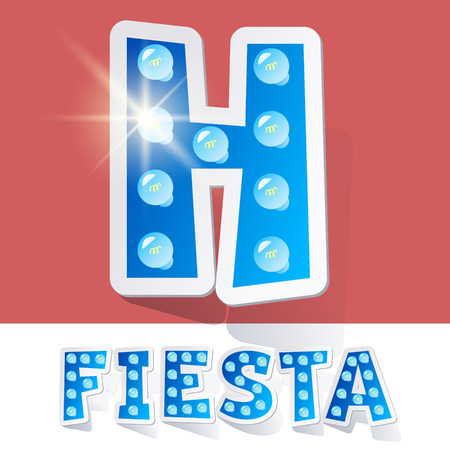 luminary: Funny lamp cartoon alphabet for party, holiday and celebration. Sticker style. Letter H