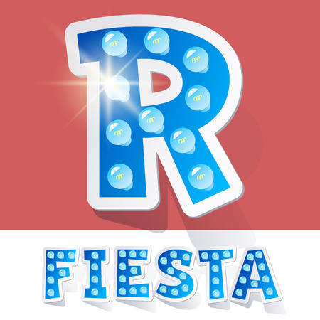 luminary: Funny lamp cartoon alphabet for party, holiday and celebration. Sticker style. Letter R