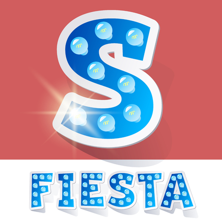 luminary: Funny lamp cartoon alphabet for party, holiday and celebration. Sticker style. Letter S