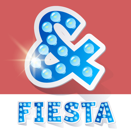 luminary: Funny lamp cartoon alphabet for party, holiday and celebration. Sticker style. Symbol