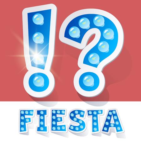 luminary: Funny lamp cartoon alphabet for party, holiday and celebration. Sticker style. Symbols Illustration