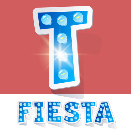 luminary: Funny lamp cartoon alphabet for party, holiday and celebration. Sticker style. Letter T
