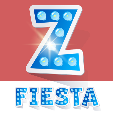 luminary: Funny lamp cartoon alphabet for party, holiday and celebration. Sticker style. Letter Z