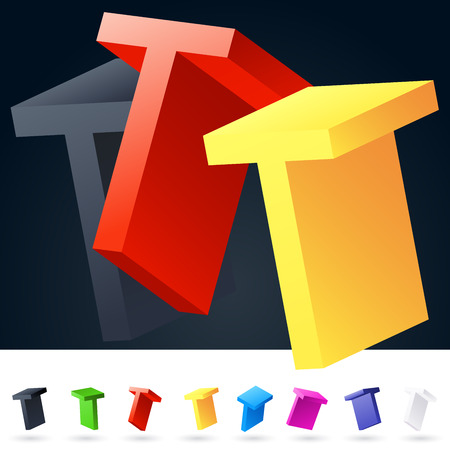 rotated: 3D vector elegant alphabet of randomly rotated thin grace symbols. All symbols in set have 8 random points of view. Letter T