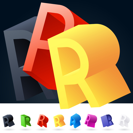 rotated: 3D vector elegant alphabet of randomly rotated thin grace symbols. All symbols in set have 8 random points of view. Letter R