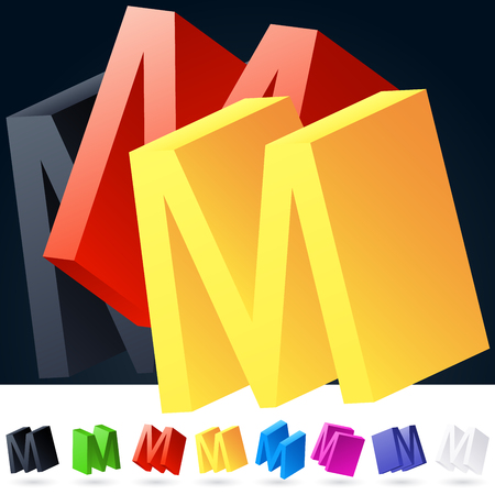 3D vector elegant alphabet of randomly rotated thin grace symbols. All symbols in set have 8 random points of view. Letter M