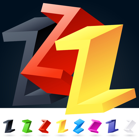 rotated: 3D vector elegant alphabet of randomly rotated thin grace symbols. All symbols in set have 8 random points of view. Letter Z Illustration
