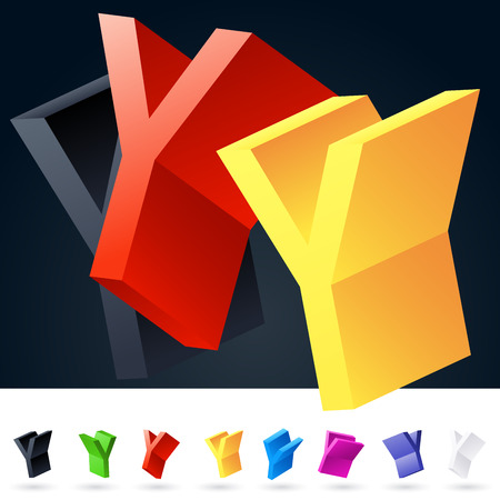 rotated: 3D vector elegant alphabet of randomly rotated thin grace symbols. All symbols in set have 8 random points of view. Letter Y