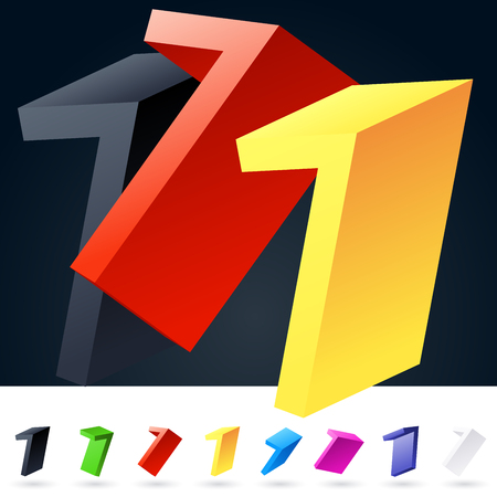 number 7: 3D vector elegant alphabet of randomly rotated thin grace symbols. All symbols in set have 8 random points of view. Number 7