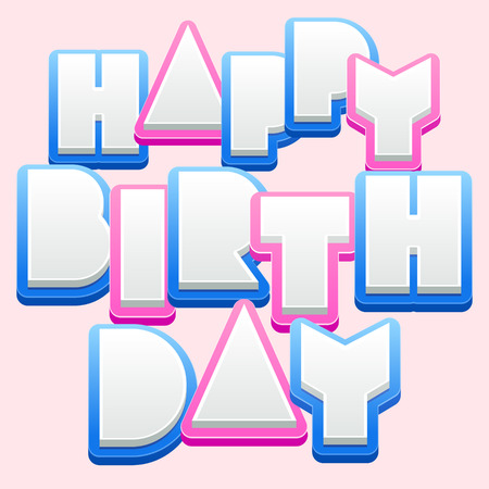 regards: Happy birthday vector card with cute blue and pink letters for baby Illustration