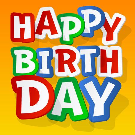 Happy birthday vector kaart met sticker kleurrijke lettertype op gele achtergrond Stock Illustratie