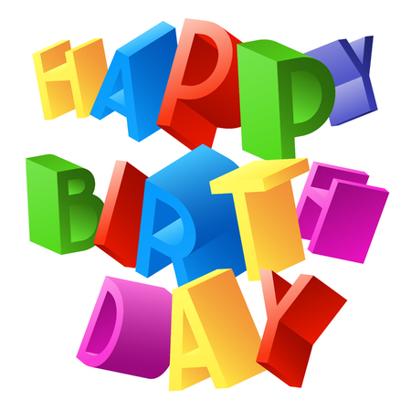 Happy birthday vector card with 3D colorful random rotated letters