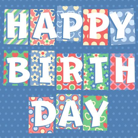 motley: Happy birthday vector card with motley font
