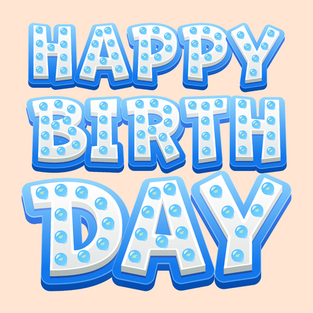 Happy birthday vector card with funny blue lamp letters