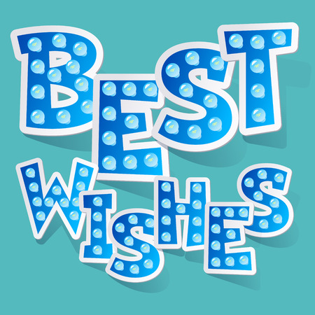 regards: Best wishes vector card with funny blue lamp letters Illustration