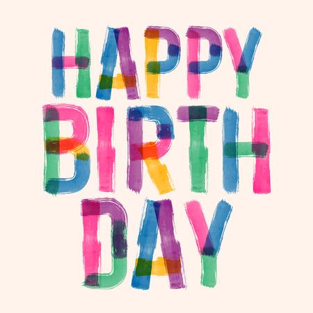 Happy birthday card vettoriale con caratteri originali fatti a mano Archivio Fotografico - 45523226