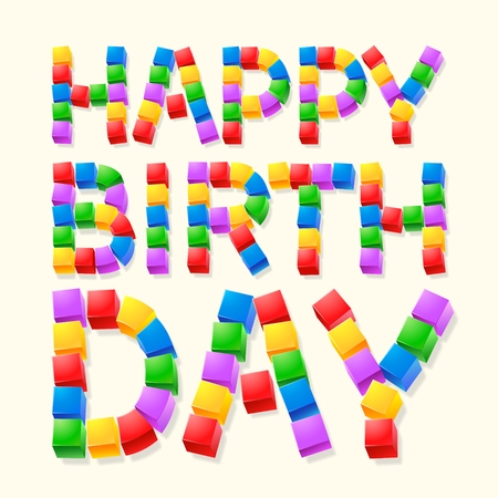 regards: Happy birthday vector card with colorful cubes font