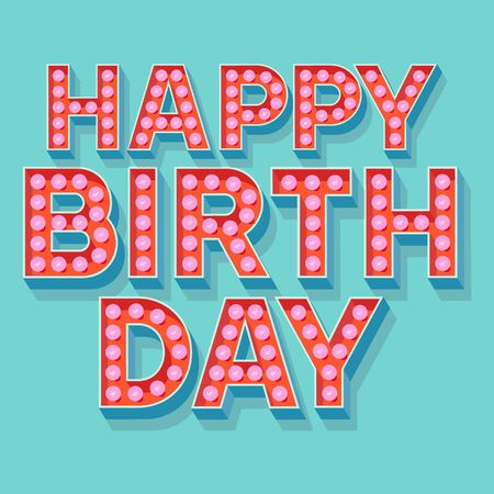 clubber: Happy birthday vector card with lamp font for clubber Illustration