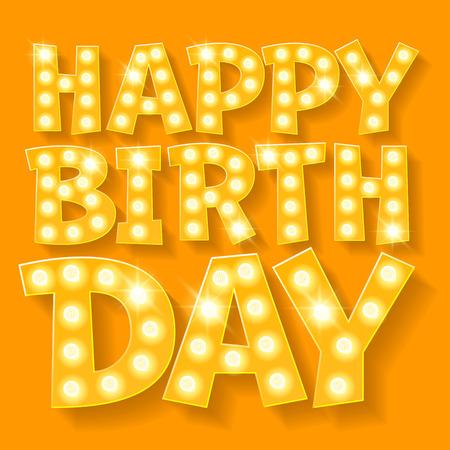 생일 축하 해요 벡터 카드 파티 조명에 노란색 램프 글꼴