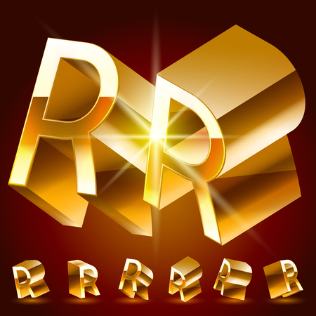 3D vector deluxe alphabet of randomly rotated thin golden symbols. All symbols in set have 8 random points of view. Letter R