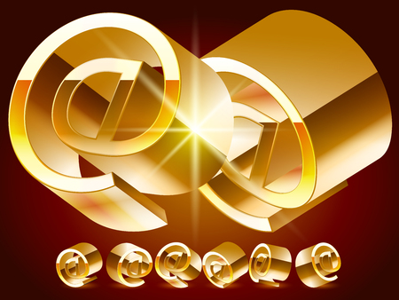 rotated: 3D vector deluxe alphabet of randomly rotated thin golden symbols. All symbols in set have 8 random points of view. Symbol