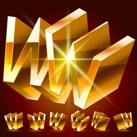 3D vector deluxe alphabet of randomly rotated thin golden symbols. All symbols in set have 8 random points of view. Letter W Illusztráció