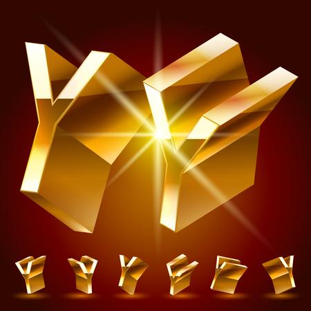 golden symbols: 3D vector deluxe alphabet of randomly rotated thin golden symbols. All symbols in set have 8 random points of view. Letter Y