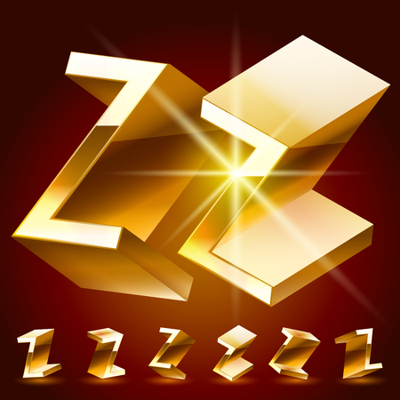 deluxe: 3D vector deluxe alphabet of randomly rotated thin golden symbols. All symbols in set have 8 random points of view. Letter Z Illustration