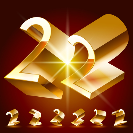 deluxe: 3D vector deluxe alphabet of randomly rotated thin golden symbols. All symbols in set have 8 random points of view. Number 2