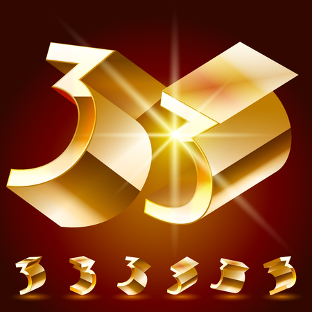 deluxe: 3D vector deluxe alphabet of randomly rotated thin golden symbols. All symbols in set have 8 random points of view. Number 3 Illustration