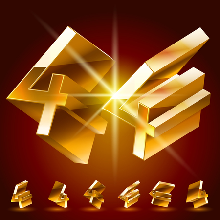 rotated: 3D vector deluxe alphabet of randomly rotated thin golden symbols. All symbols in set have 8 random points of view. Number 4