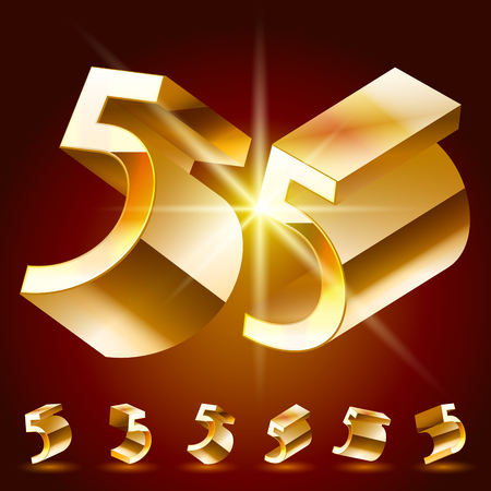 randomly: 3D vector deluxe alphabet of randomly rotated thin golden symbols. All symbols in set have 8 random points of view. Number 5