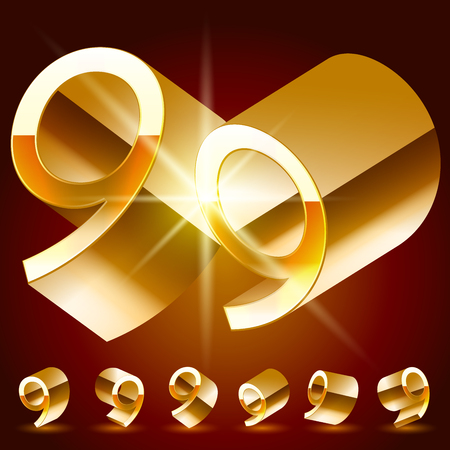 deluxe: 3D vector deluxe alphabet of randomly rotated thin golden symbols. All symbols in set have 8 random points of view. Number 9