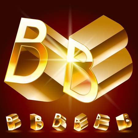 rotated: 3D vector deluxe alphabet of randomly rotated thin golden symbols. All symbols in set have 8 random points of view. Letter B Illustration