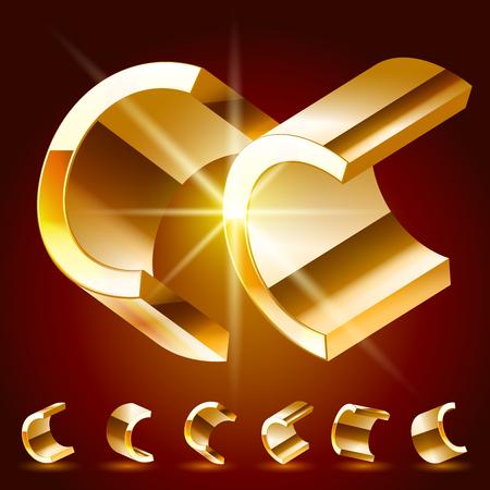 3D vector deluxe alphabet of randomly rotated thin golden symbols. All symbols in set have 8 random points of view. Letter C Illusztráció