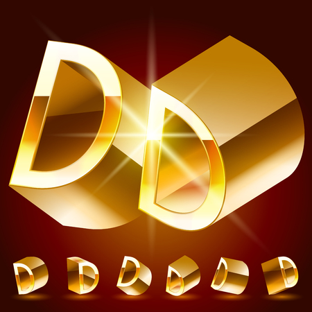 deluxe: 3D vector deluxe alphabet of randomly rotated thin golden symbols. All symbols in set have 8 random points of view. Letter D