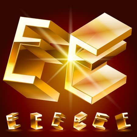 deluxe: 3D vector deluxe alphabet of randomly rotated thin golden symbols. All symbols in set have 8 random points of view. Letter E