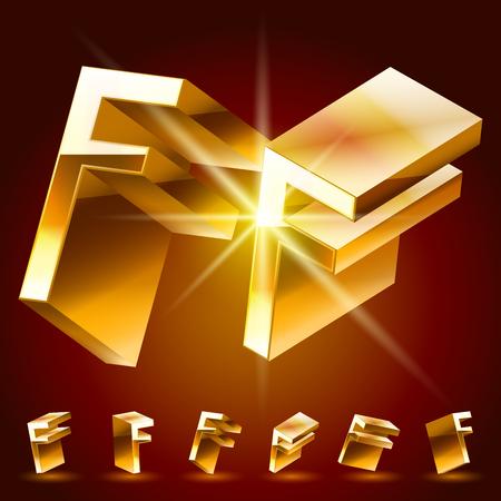 golden symbols: 3D vector deluxe alphabet of randomly rotated thin golden symbols. All symbols in set have 8 random points of view. Letter F Illustration