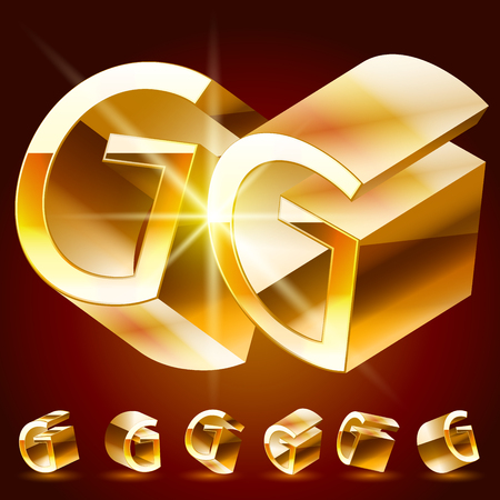 rotated: 3D vector deluxe alphabet of randomly rotated thin golden symbols. All symbols in set have 8 random points of view. Letter G