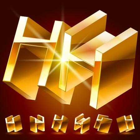 deluxe: 3D vector deluxe alphabet of randomly rotated thin golden symbols. All symbols in set have 8 random points of view. Letter H
