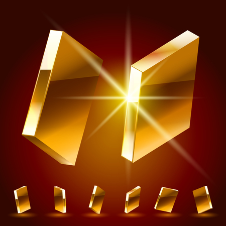 3D vector deluxe alphabet of randomly rotated thin golden symbols. All symbols in set have 8 random points of view. Letter I