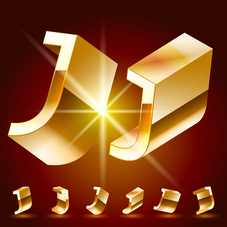 deluxe: 3D vector deluxe alphabet of randomly rotated thin golden symbols. All symbols in set have 8 random points of view. Letter J Illustration